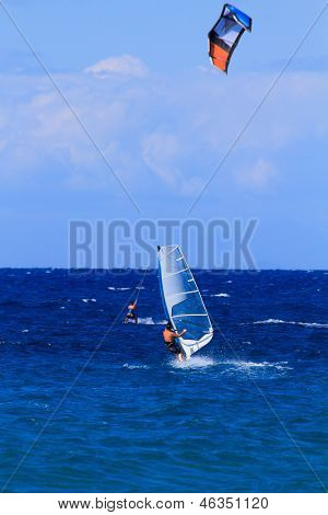 Windsurfer and kite in Zakythos island Greece