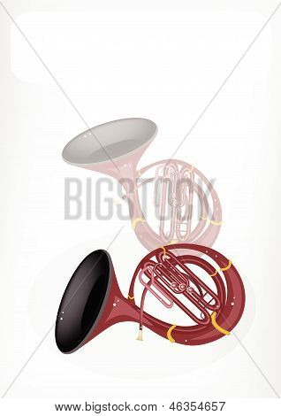 A Musical Sousaphone With A White Banner