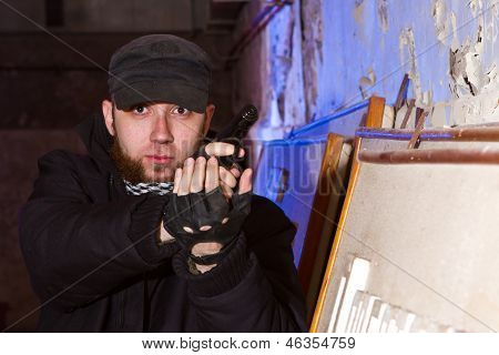 Young Bearded Terrorist With A Gun