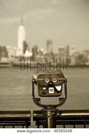 Observation deck with binoculars view of New York city