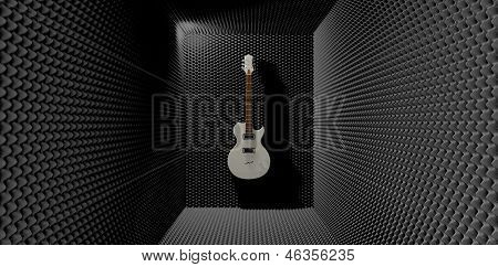 Acoustic Foam Room With Mounted Electric Guitar