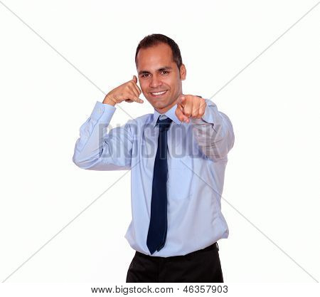 Adult Man Pointing At You Saying Call Me