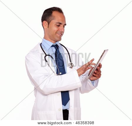 Attractive Medical Doctor Using His Tablet Pc