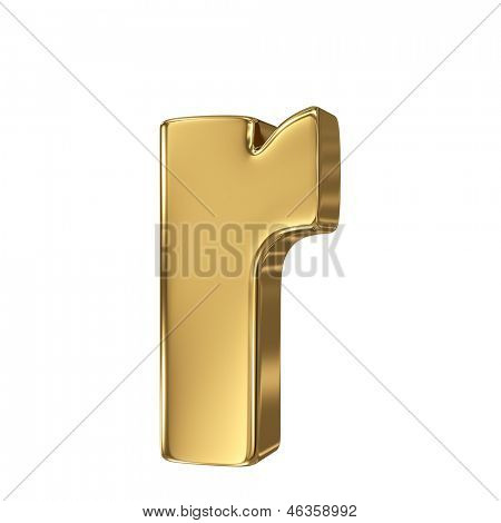 Golden letter r lowercase high quality 3d render isolated on white