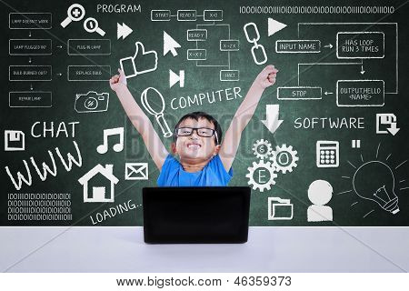 Boy Winning Computer Science Competition Using Laptop In Class
