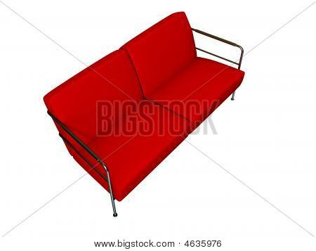 Red Sofa On White