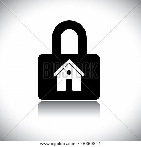 Concept Vector Graphic- Black & White Residential House(home) & Lock Icon.
