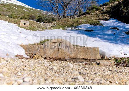 Fonte Mosca, Mountain Water Spring, Gran Sasso, Abruzzo, Italy