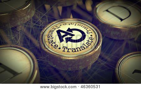 Translate Typewriter Key. Grunge Background.