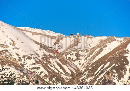 Gran Sasso, Campo Imperatore, Cabelway And Hotel View, L'aquila, Italy