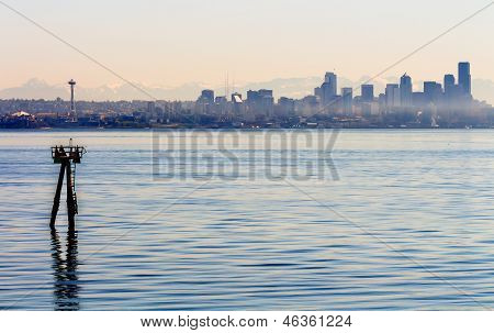 Channel Marker Seattle Skyline Puget Sound Cascade Mountains Washington State