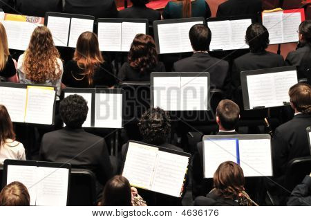 Rows Of Musicians And Music Stands