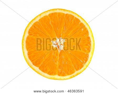 Slice of ripe orange isolated on white