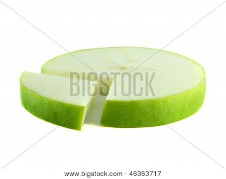 Pie chart of sliced green apple