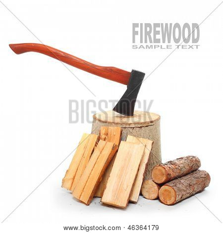 Cut logs fire wood and axe. Renewable resource of a energy. Environmental concept.