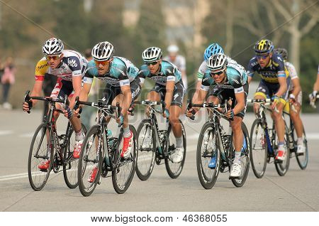 BARCELONA - MARCH, 24: Pack of the cyclists of Omega Pharma Quickstep ride during the Tour of Catalonia cycling race through the streets of Monjuich mountain in Barcelona on March 24, 2013