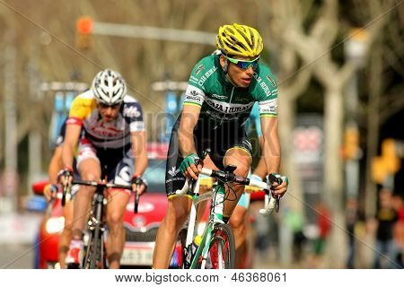 BARCELONA - MARCH, 24: Karol Domagalski of Caja Rural rides during the Tour of Catalonia cycling race through the streets of Monjuich mountain in Barcelona on March 24, 2013