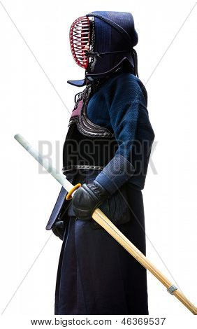Profile of equipped kendo fighter with shinai, isolated on white. Japanese martial art of sword fighting