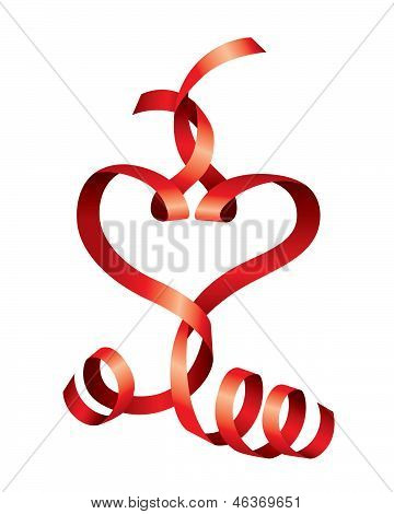 Vector satin hearts of red ribbons