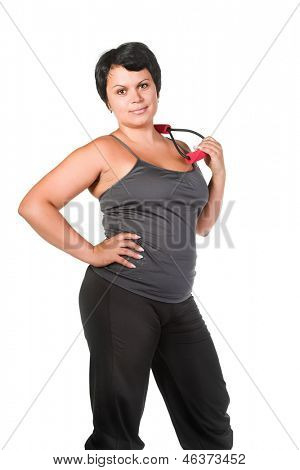 fat woman with chest expander