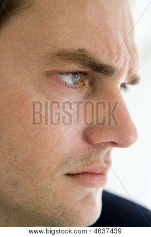 Head Shot Of Man Thinking