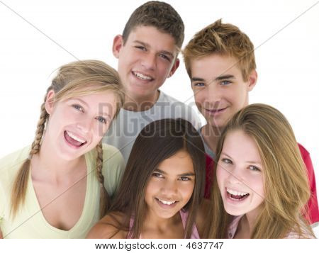 Five Friends Together Smiling