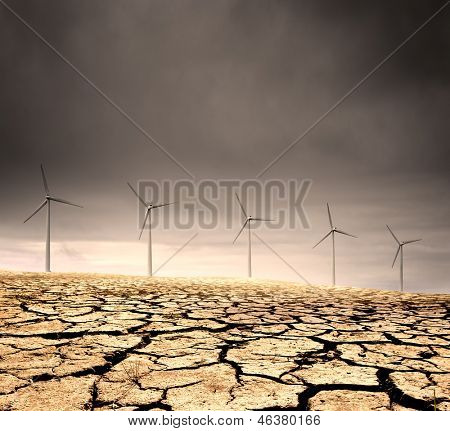 Wind Farm in a barren cracked desert