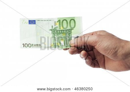 Male hand holding a 100 Euro bill isolated on white