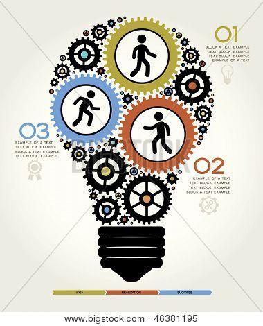 Conceito moderno de negócios, elementos gráficos de informação. Solução de lâmpada de ideia.