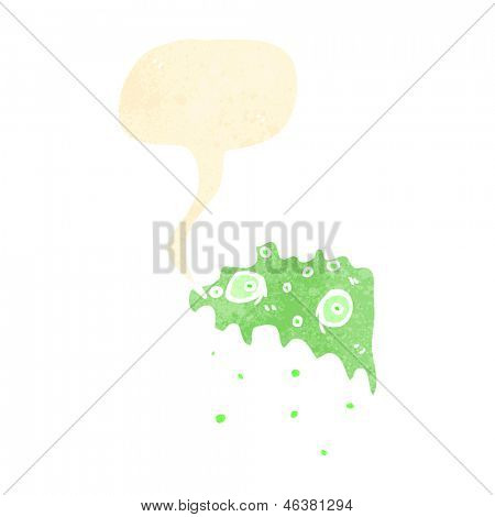 cartoon gross slime monster with speech bubble