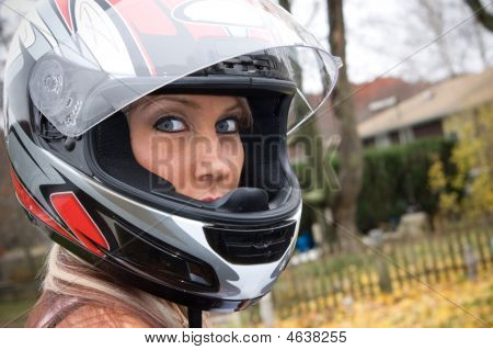 Woman Wearing A Helmet