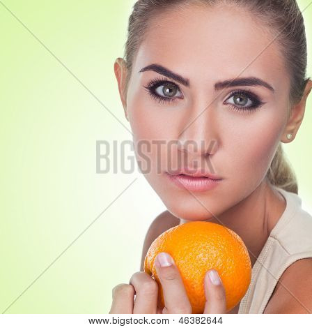 Close-up Portrait Of Happy Young Woman With Juice On White Background