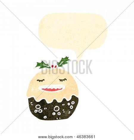 retro cartoon christmas pudding