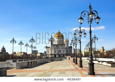 Cathedral Of Christ The Savior And Lampposts