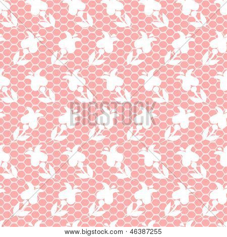 Elegant delicate pink lacy mesh with white floral ornament seamless pattern, vector