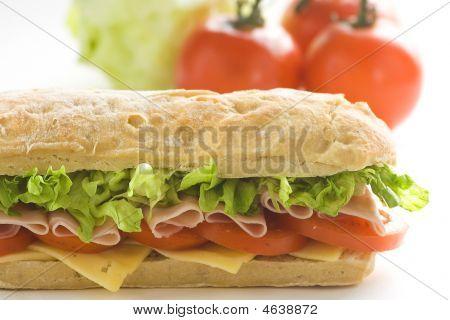 Delicious Sandwich Of Ham Cheese Lettuce Tomato