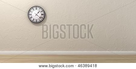 Antique Clock Hanging In Empty Room