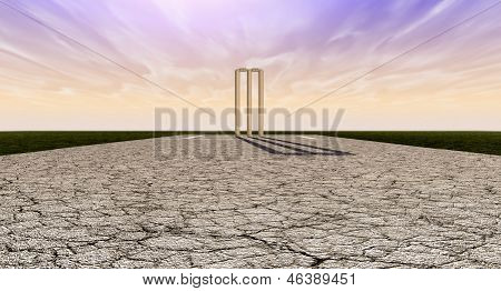 Cricket Wickets On Pitch Horizon