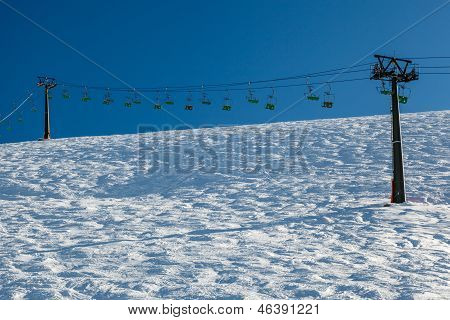 Ski Slope And Ski Lift Near Megeve In French Alps, France