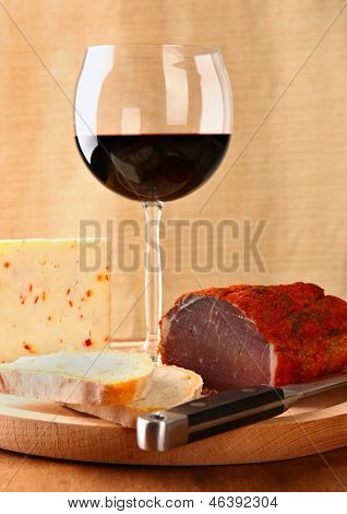 Red Wine With Italian Cheese And Capocollo