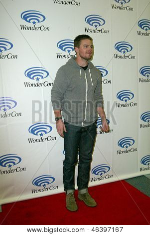 ANAHEIM, CA - MARCH 31: Stephen Amell arrives at the 2013 Wondercon convention press room at the Anaheim Convention Center on March 31, 2013 in Anaheim, CA.