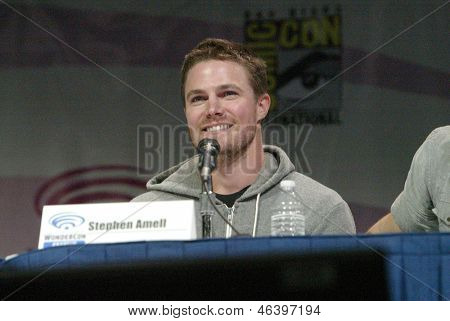 ANAHEIM, CA - MARCH 31: Stephen Amell participates in a panel discussion at the 2013 Wondercon convention on March 31, 2013 in Anaheim, CA.