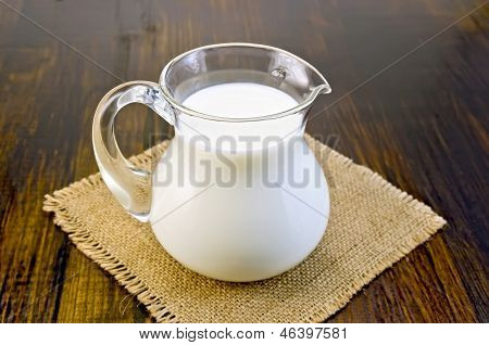 Milk In A Glass Jar On Sacking