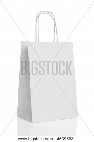 White paper shopping bag isolated with reflection