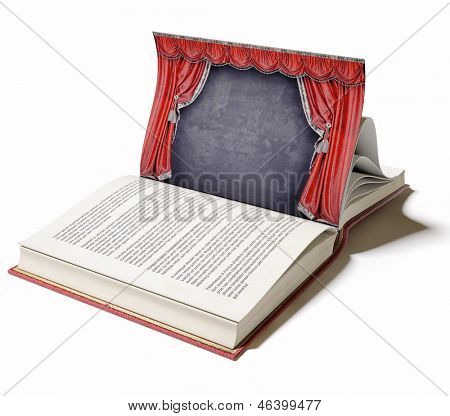 Theater stage with red curtains on the book page (illustrated concept)
