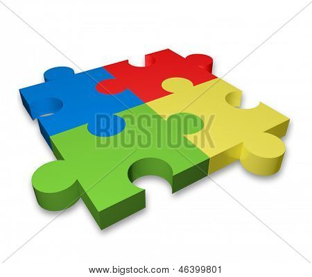 3d puzzle icon with four color puzzle pieces