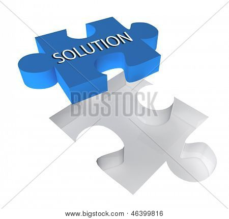 3D puzzle piece with the word solution on it. Great business concept