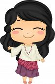 stock photo of filipina  - Illustration of Cute Little Filipina Girl wearing Traditional Costume Kimona - JPG