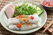 image of rice noodles  - banh cuon - JPG