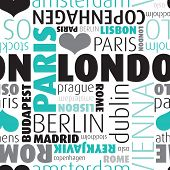 image of copenhagen  - Seamless europe city capitals typography background pattern in vector on white - JPG